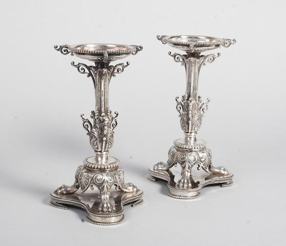 A pair of silver plated stands  (2)
