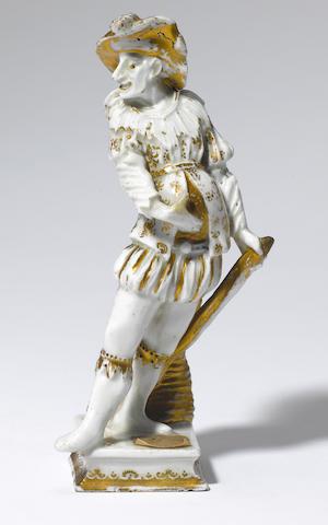 A rare Meissen Hausmaler figure of a Italian Comedy actor Circa 1725-30.