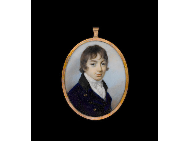 (n/a) George Engleheart (British, 1750/3-1829) A Young Gentleman, wearing blue coat with black collar and brass buttons over white waistcoat and tied white cravat