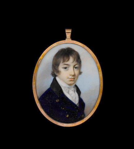 George Engleheart (British, 1750/3-1829) A Young Gentleman, wearing blue coat with black collar and brass buttons over white waistcoat and tied white cravat