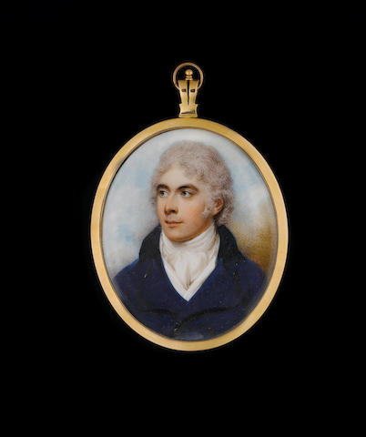 William Wood (British, 1769-1810) A Gentleman, wearing blue coat with black collar, white waistcoat and tied stock, his short hair powdered