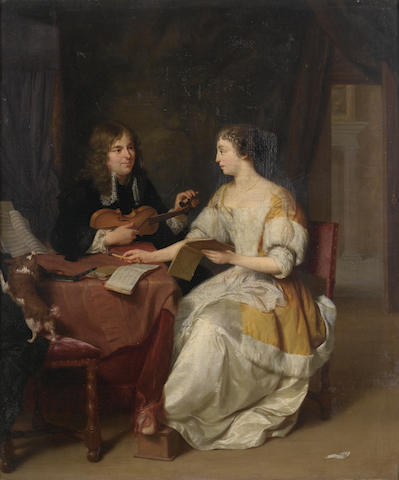 Jan Verkolje (Amsterdam 1650-1693 Delft) An elegant couple in an interior