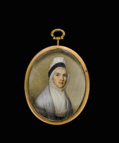 (n/a) Thomas Hazlehurst (British, 1740-1821) A Lady, called Elizabeth Fry, wearing grey shawl and white tucker, her hair upswept beneath a fluted white bonnet trimmed with black ribbon