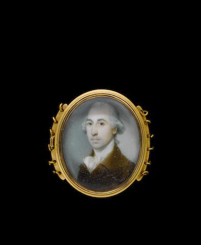 (n/a) Richard Crosse (British, 1742-1810) A Gentleman, wearing brown coat with tied white stock, his powdered hair worn en queue