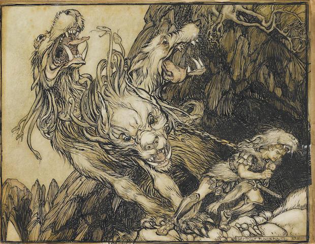 Arthur Rackham (British, 1867-1939) The twelfth labor of Hercules unframed
