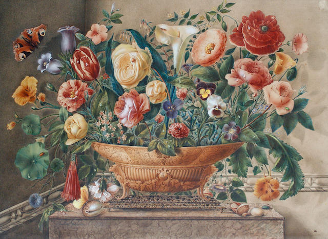 Pauline Girardin (French, born 1818) An arrangement of flowers and shells