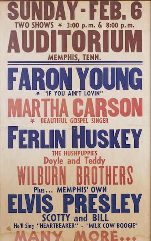 A poster for Elvis Presley at the Ellis Auditorium, Memphis, 6th February, 1955,