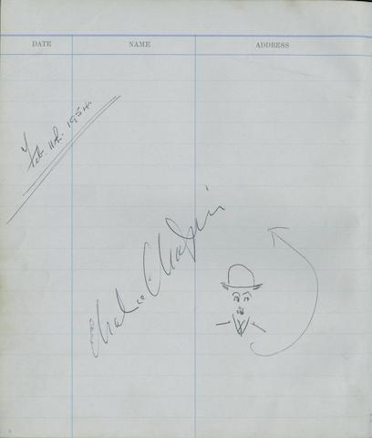 A Pinewood Studios Visitors Book, autographed by Charlie Chaplin, early 1950's, 3