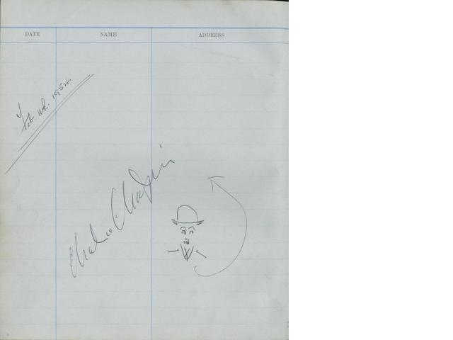 A Pinewood Studios Visitors Book, autographed by Charlie Chaplin, early 1950's,3