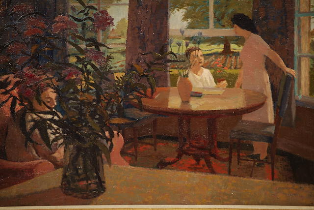 John Elwyn (British, 1916-1997) Interior with figures and vase of flowers,