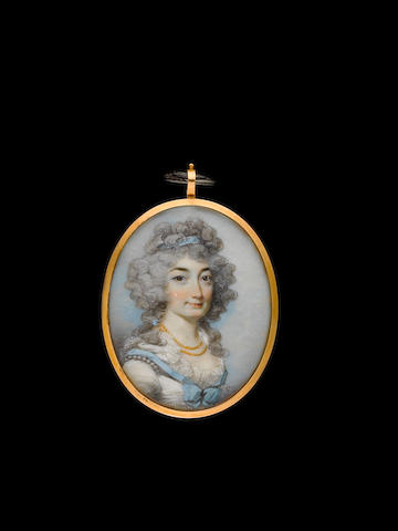 George Engleheart (British, 1750/3-1829) A double-sided miniature of two ladies, possibly mother and daughter, both wearing white dresses trimmed with lace, strands of pearls and blue ribbons, their powdered hair worn long and curling with blue ribbons