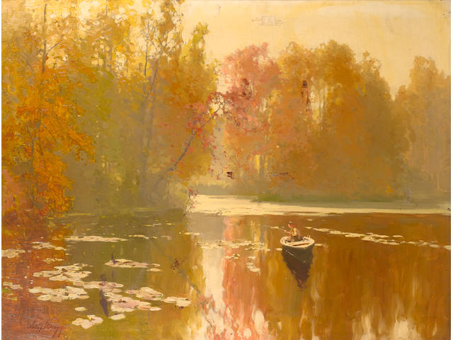 Andrei Nikolaevich Shil'der (Russian, 1861-1919) Autumnal fishing