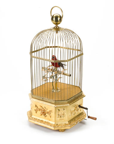 A singing bird-in-cage, by Bontems, circa 1900,