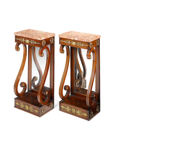 An unusual pair of Regency rosewood Console Tables of small size