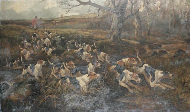 Arthur A. Davis (British, active 1877-1905) Hounds crossing a stream