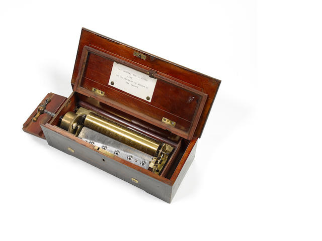 A key-wind cylinder musical box by Lecoultre Freres, circa 1857,