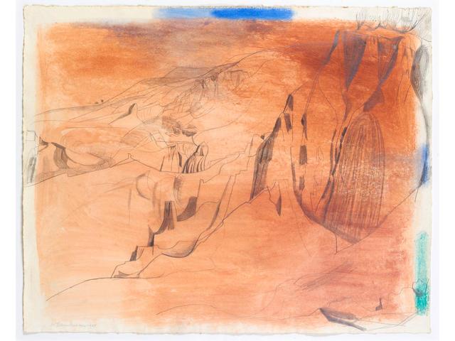 Wilhelmina Barns-Graham (British, 1912-2004) Palinure Campagna (Red Canyon) 47 x 59 cm. (18 1/2 x 23 1/4 in.)