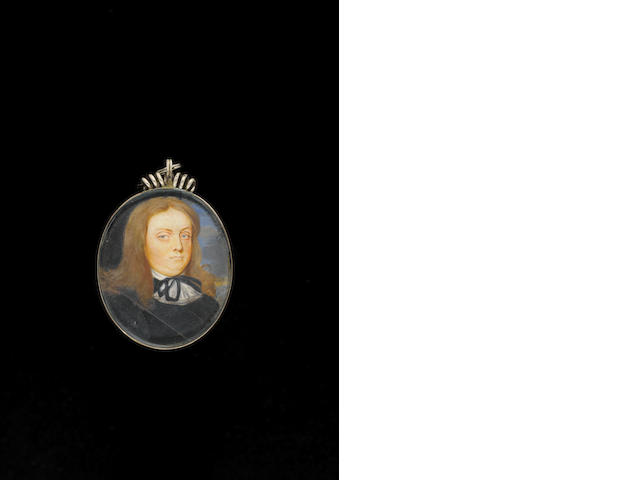 (n/a) Thomas Flatman (British, 1637-1688) A Gentleman, wearing black doublet and cross-belt, his white cravat tied with black ribbon, his hair worn long