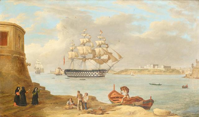 Anton Schranz (German, 1769-1839) HMS Britannia entering the Grand Harbour, Valletta; HMS Britannia at anchor, a pair , the other 35.5 x 57cm (14 x 22 1/2in). ((2))