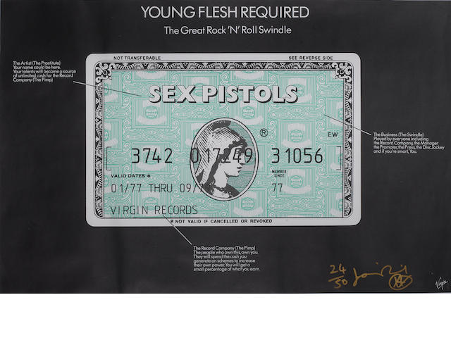 Jamie Reid: 'Young Flesh Required', a poster for 'The Great Rock 'N' Roll Swindle' soundtrack album