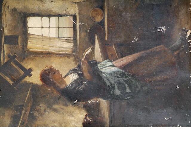 Edward John Cobbett (British, 1815-1899) Cottage interior with maid reading a letter,