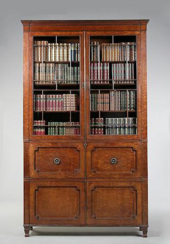 A Regency mahogany and ebony inlaid secretaire bookcase  circa 1810