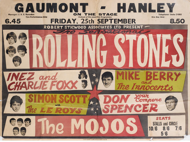 A concert poster for the Rolling Stones at the Gaumont, Hanley, Friday, 25th September 1964,