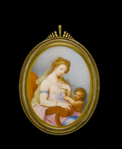 Peter Oliver (British, 1589-1647) 'Venus and Cupid' Venus, seated in an upholstered chair, bare breasted, wearing blue armlet, pink and blue robes and yellow veil in her hair, attended by Cupid to her left, gilded border