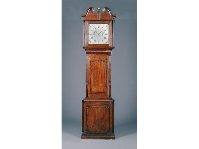 An oak and mahogany-crossbanded eight-day painted dial longcase clock, late 18th Century Watkin Owen, Llanrwst, circa 1785