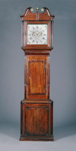 An oak and mahogany-crossbanded eight-day painted dial longcase clock, late 18th Century Watkin Owen, Llanrwst, circa 1785