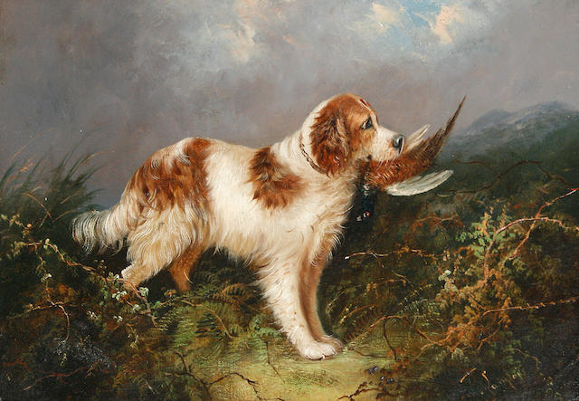 J Langlois (British, 19th Century) A setter with a pheasant; Two dogs in a stable (2)