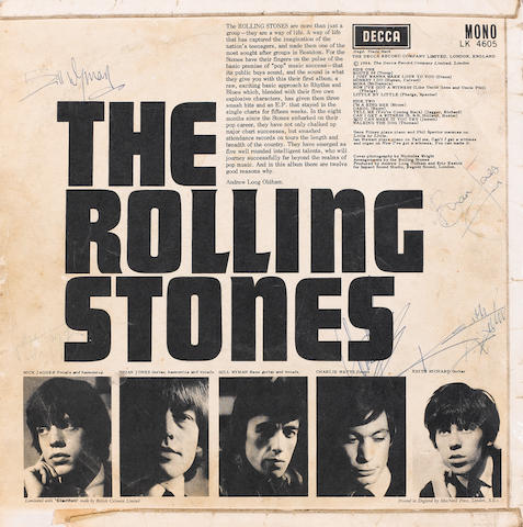 An autographed copy of the album 'The Rolling Stones',
