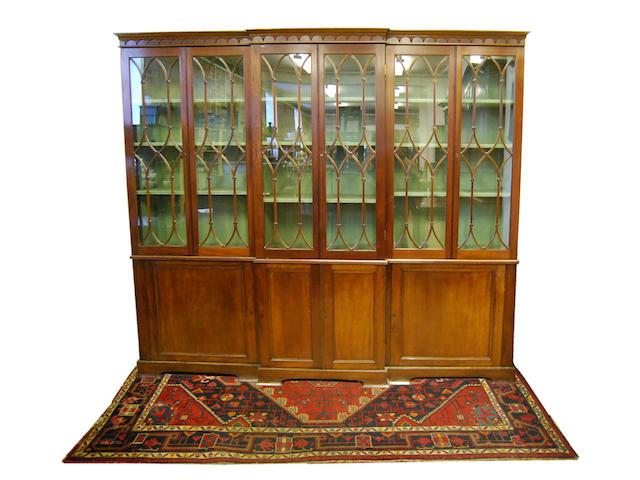 A mahogany breakfront bookcase, mid-20th Century