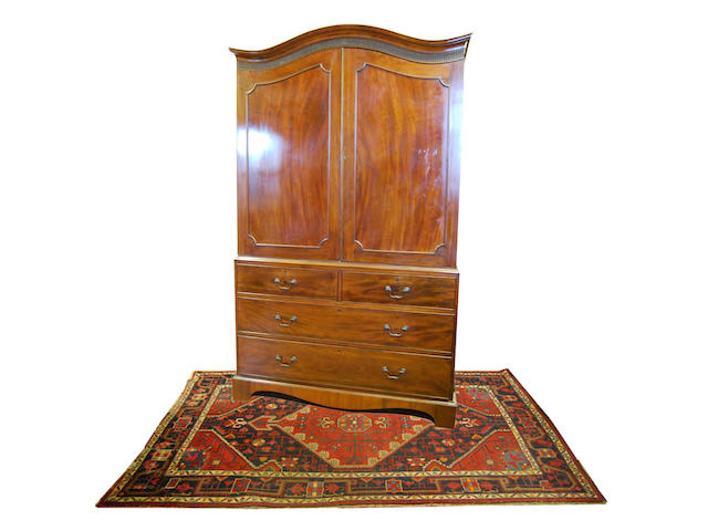 A George III and later mahogany linen press