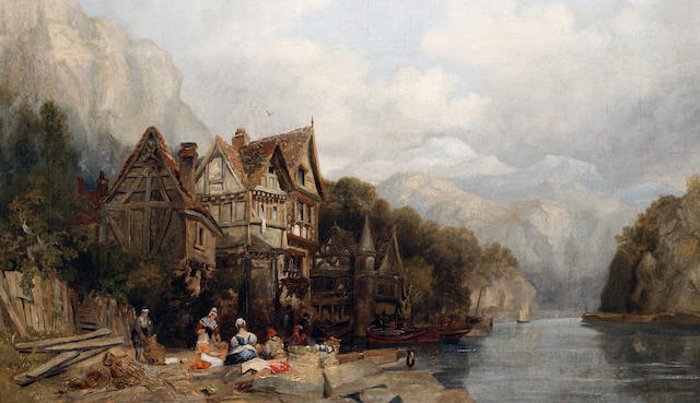 Follower of Clarkson Stanfield, RA (British, 1793-1867) A river landscape with figures mending nets