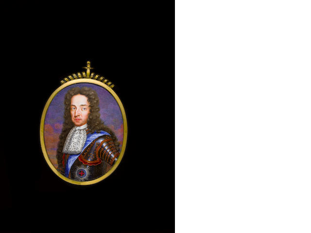 (n/a) English School, circa 1700 William III, Prince of Orange (1650-1702), King of England (1689-1702), wearing gilt-studded armour with the blue sash and star of the Order of the Garter, white lace cravat, his brown wig worn long and curling