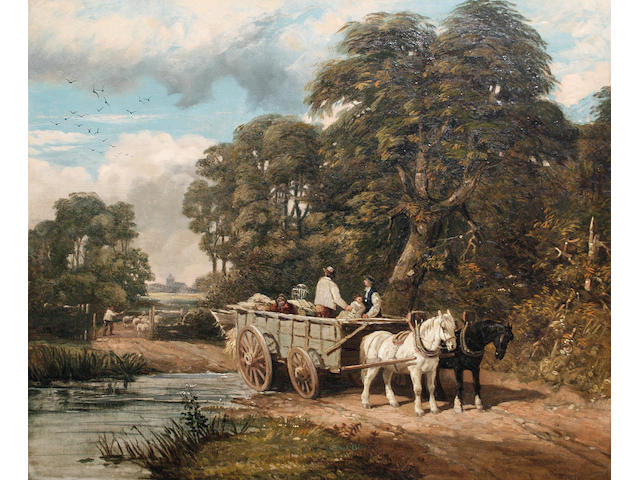 Edmund John Niemann (British, 1813-1876) 'Crossing the ford'