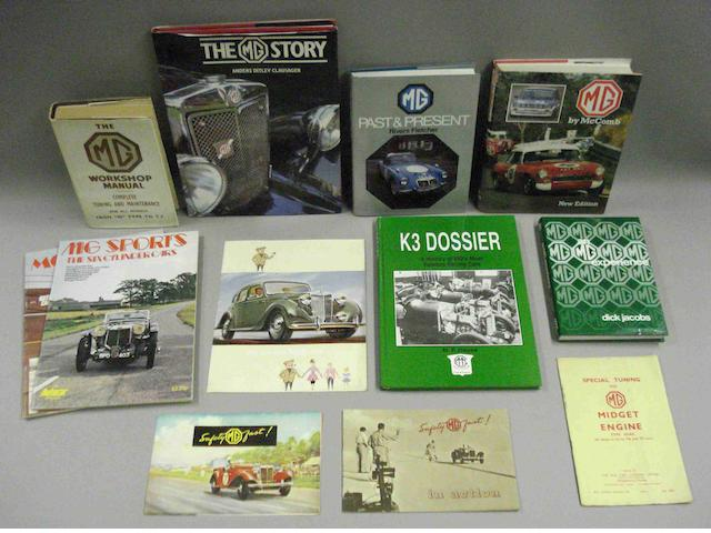 Literature relating to MG cars,