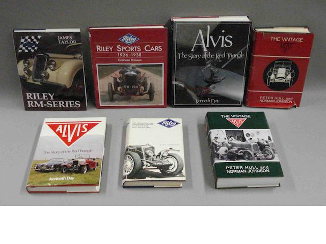 Seven books relating to Alvis and Riley cars,