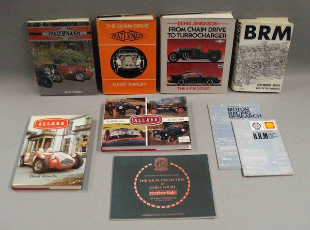 Six books relating to Frazer Nash, BRM and Allard cars,