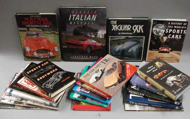 Assorted sports car related books,
