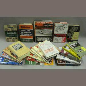A quantity of books relating to racing car design,