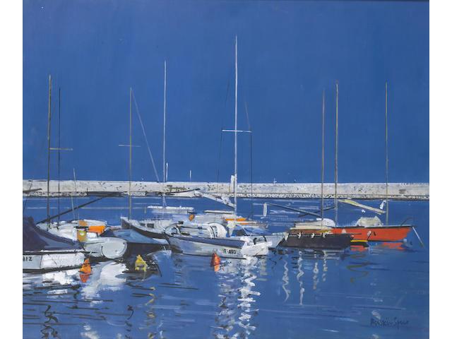 Ruskin Spear R.A. (British, 1911-1990) Blue harbour 63.5 x 76 cm. (25 x 30 in.)