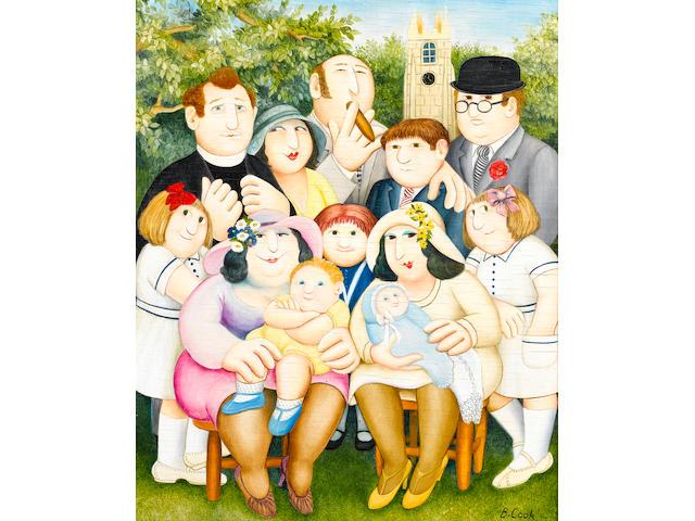 Beryl Cook (British, 1926-2008) The Christening 46 x 38 cm. (18 x 15 in.)