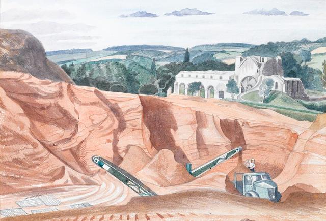 John Nash R.A. (British, 1893-1977) Buildwas Abbey, Coalbrookdale, Shropshire 26.5 x 38.5 cm. (10 1/2 x 15 1/4 in.)