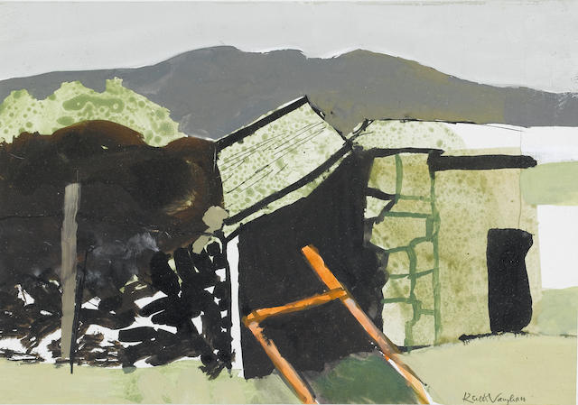Keith Vaughan (British, 1912-1977) Barn with Peat Stack, Kerry 12.7 x 17.8 cm. (5 x 7 in.)