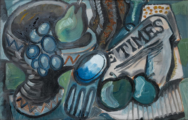 John Minton (British, 1917-1957) Still life with 'The Times' 19 x 29.3 cm. (7 1/2 x 11 1/2 in.)