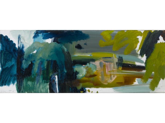Ivon Hitchens (British, 1893-1979) Drooping Trees over Water 41.7 x 109.5 cm. (16 1/2 x 43 in.)