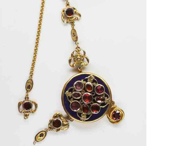 A composite 19th century and later garnet set pendant necklace,
