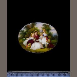 German School, circa 1850 The four eldest daughters of Queen Victoria, wearing white dresses with li